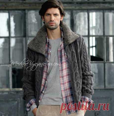 Вязаная мужская куртка с «меховым» воротником - Modnoe Vyazanie ru.com