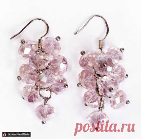 Серьги 'Гроздья' (розовые) ручной работы купить в Минске и Беларуси, цены на HandMade