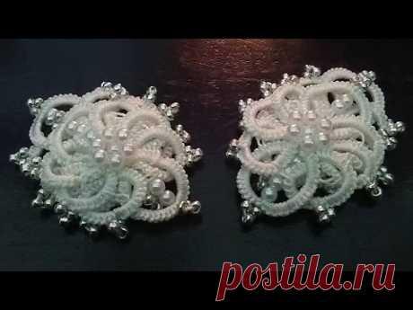 Winter flower earrings (Tatting, Frivolité, Orecchini, Frivolite, Encaje, 梭織) FREE PATTERN