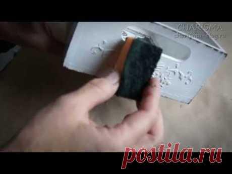 "Decoupage. Technology of implantation of listing. Vintage box of ""Черно-белая фантазия"""