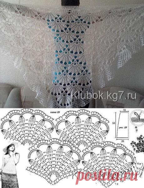 Нежная ажурная шаль. Работа Анны Нестеровой(Мироновой). Со схемой