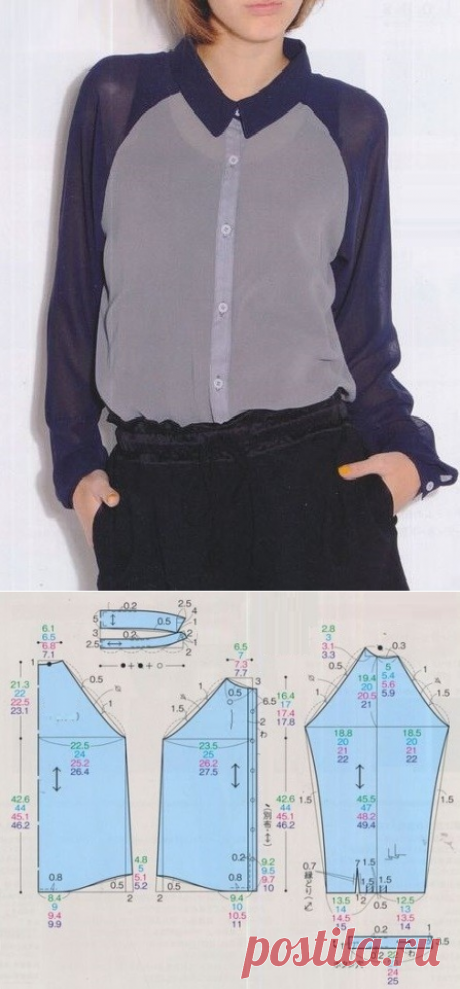 Выкройка блузки реглан / Простые выкройки / ВТОРАЯ УЛИЦА - Выкройки, мода и современное рукоделие и DIY