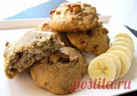 Банановое печенье с орехами - Печенье