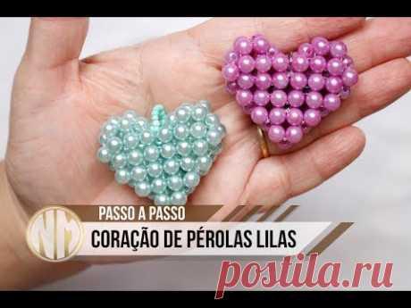 Coração de Pérolas Lilas - passo a passo