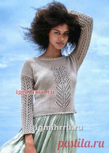 Пуловер с ажурным мотивом