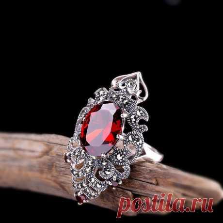 Red Garnet Ring-925 Sterling Silver Ring Natural Gemstone | Etsy