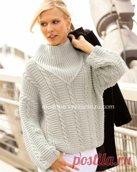 Модный свитер с «косами» и резинкой - Modnoe Vyazanie ru.com