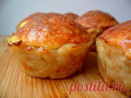 Куриные кексы с сырной начинкой (без муки).