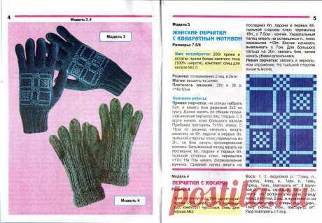 МК по вязанию спицами женских перчаток с квадратным мотивом с подробным описанием и схемой