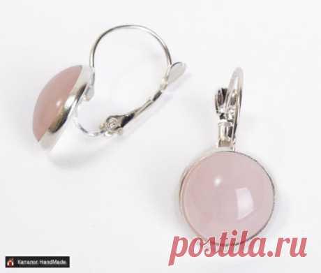 Серьги 'Розовый кварц' (изогнутая швенза) ручной работы купить в Минске и Беларуси, цены на HandMade