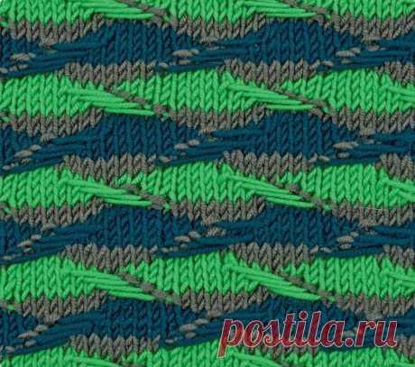 """Эффектный трехцветный узор """"Волна"""" будет хорошо смотреться на любых вещах. Он красив и сам по себе, и в сочетании с однотонной гладью."""