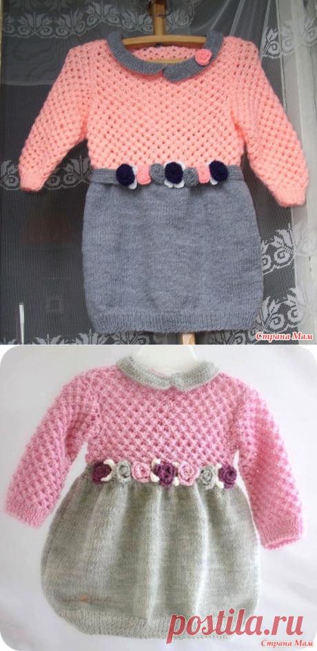 Платье для девочки 3-4х лет двухцветное - Вязание - Страна Мам