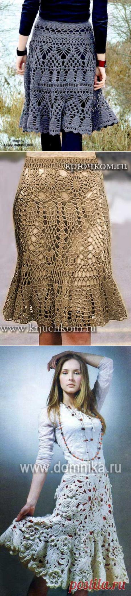 Ажурные вязаные юбки крючком - 3 модели юбок со схемами вязания бесплатно