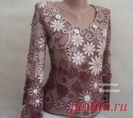 Блуза крючком в стиле ирландского кружева – заказать на Ярмарке Мастеров – 78UM3RU   Свитеры, Бердянск