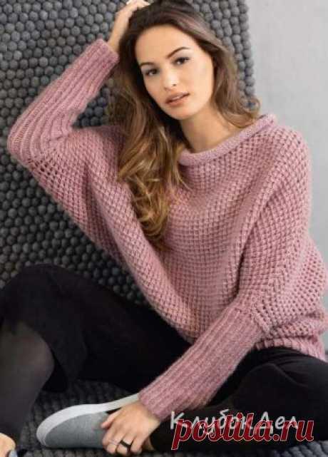 Вязаный спицами пуловер с рукавами «летучая мышь», выкройка и описание