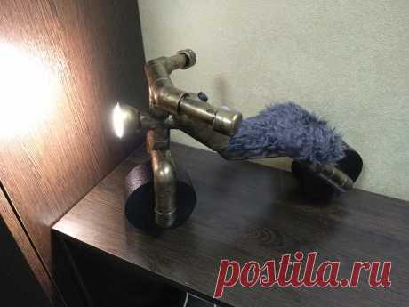 """Лампа в стиле лофт Лампа """"мотоцикл"""" Настольная лампа своими руками"""