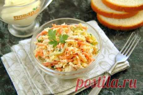 """Салат """"Лисичка"""" с корейской морковкой - пошаговый рецепт с фото на Повар.ру"""