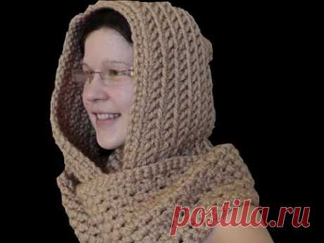 как связать крючком шарф с капюшоном