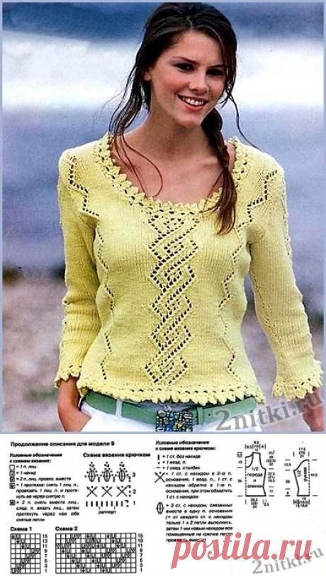 Фисташковый пуловер с ажурным узором по центру