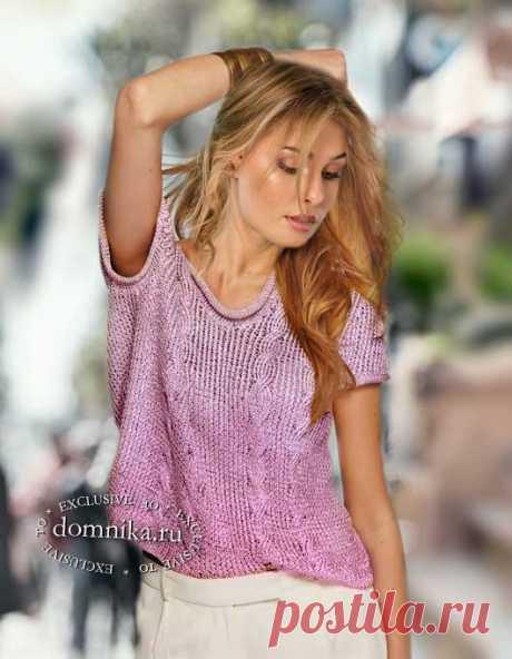 Летняя вязаная кофточка спицами - простая модная модель с косами