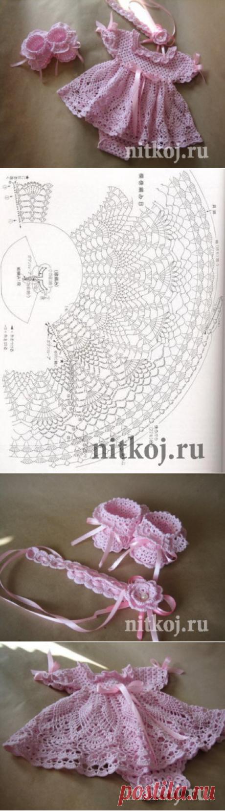 Платье на малышку 0-3 месяца » Ниткой - вязаные вещи для вашего дома, вязание крючком, вязание спицами, схемы вязания