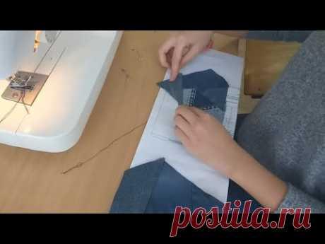 Платье-туника из обрезков и старых джинс. техника крейзи+выкройка. #patchwork#DIY#лоскутноешитье
