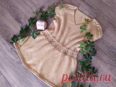 """Пуловер спицами """"Карамель"""". V-образная горловина. Часть 5. Нижняя часть пуловера. Рукава."""