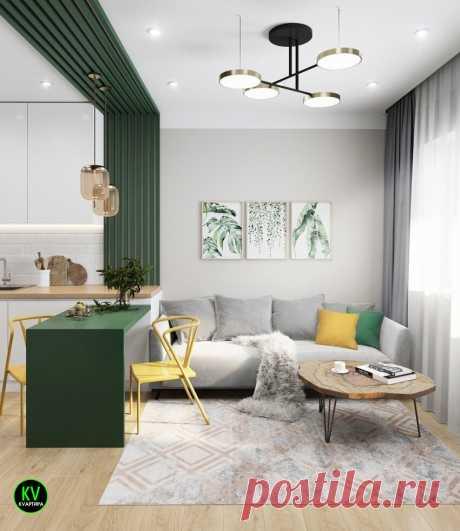Стильный проект небольшой квартиры-студии, площадью 24 м² с зеленым акцентом 😃👍 | КVАРТИРА | Яндекс Дзен