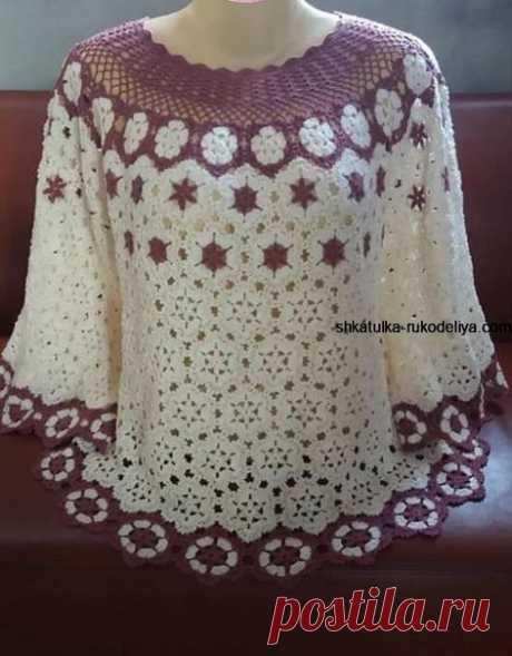 Летняя кофточка мотивами  #вязание_крючком #для_женщин #кофточка #мотивы #схема