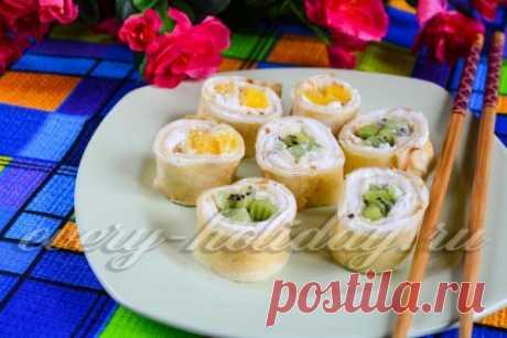 Сладкие роллы из блинов, рецепт с фото