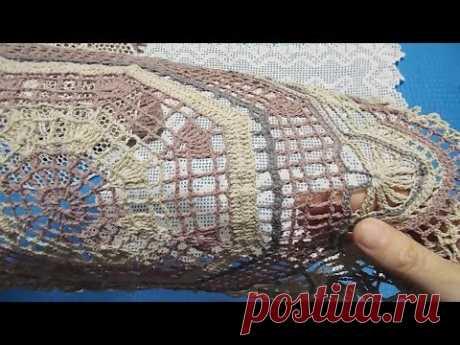 Вязание крючком. Как накрахмалить салфетку, связать сумку и прошить тамбурным швом филейную сетку