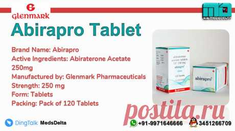 Glenmark manufactured Abiraterone Tablet under the brand name Abirapro 250mg. Buy now Abirapro Abiraterone Tablet at wholesale price from MedsDelta trusted exporter and supplier. Call/Whatsapp +91–9971646666 or QQ: 3451266709 contact us for more details about our product range. We at MedsDelta aims at supplying generic and branded abiraterone tablet at lower cost with delivery to countries worldwide