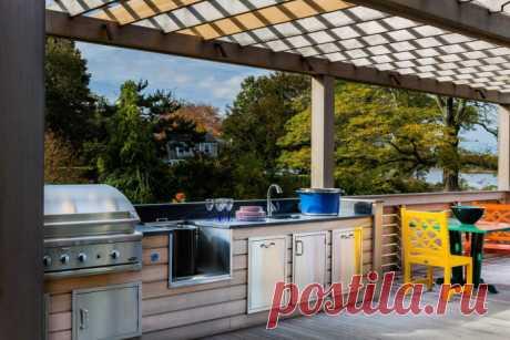 Летняя кухня: виды, фото и идеи дизайна Как оформить летнюю кухню на даче? Выбор вида кухни(открытой или закрытой), мебели и техники. Фото и идеи дизайна.