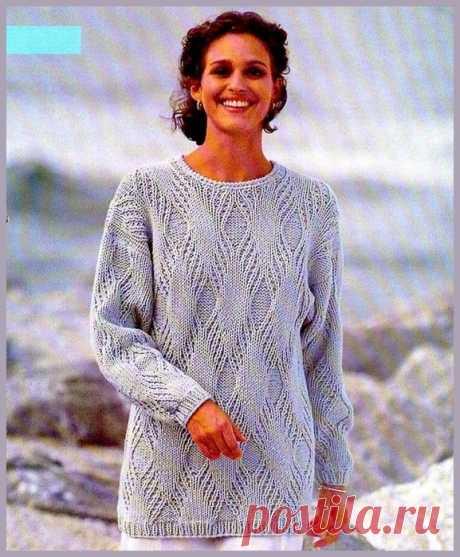 Схема вязания спицами красивого узора для пуловера. И выкройка тоже есть.