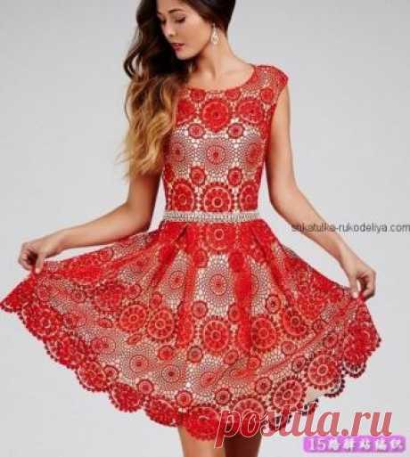 Вечернее платье мотивами Вечернее платье мотивами крючком. Красное шикарное женское платье крючком