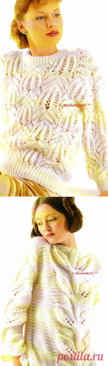Вязание спицами - такие разные, но такие нежные - белые пуловеры для осени