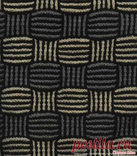 """. Узор """"Плетенка"""" (ленивый жаккард+бриошь) Нашла очень интересный узор в технике ленивого жаккарда. Просто вижу таким мужской свитер.  Тут схема. В принципе, можно разобраться.  Перерисовала схему"""