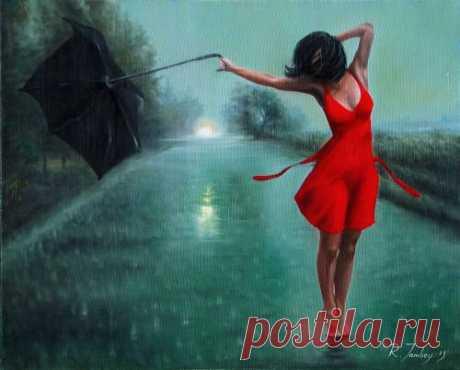 Картины (живопись) : Танцующая под дождем. Автор Рауф Салим Джанибеков