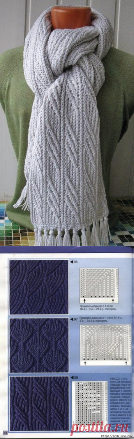 Masters and clever men: We knit a smart scarf spokes + 3 patterns spokes for a scarf