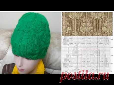 МК по вязанию бесшовной шапочки спицам узором ёлочки/ вяжем с 8 по 14 ряд; ІІ и ІІІ ярус лап