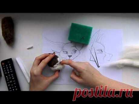 Сухое валяние: Мастер класс по валянию мордочки для валяной игрушки.Мимика.