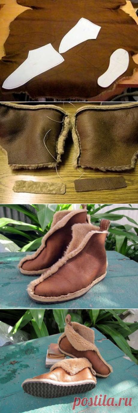 Как сшить обувь из старой дубленки.