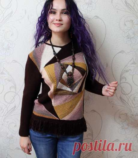 Knitted kaleidoscope - a pullover in style a patchwork