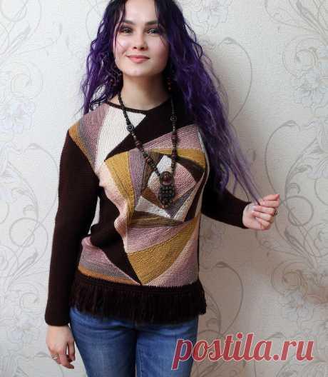 Вязаный калейдоскоп -пуловер в стиле пэчворк