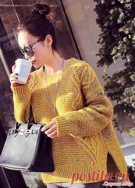 Свободный пуловер с удлиненной спинкой (выкройка и схема узора). Спицы. https://ya-hozyaika.com/