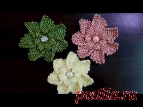 Harika 3d çiçek nasıl yapılır  #örgümodelleri #örgüçiçek