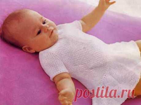белое платице для малышки вязаное спицами » Домашняя кулинария и ручная работа