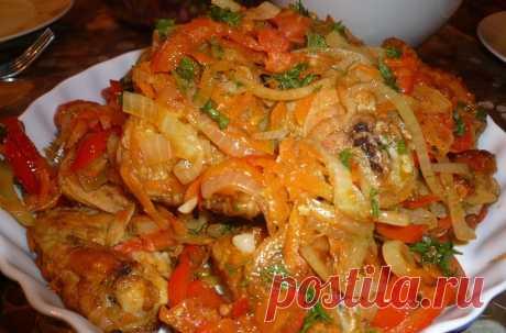 Сочная жареная курица на сковороде — рецепт с помидорами