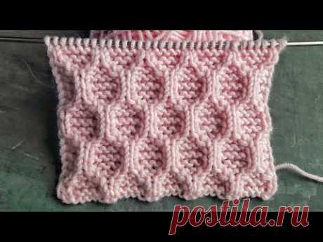 Красивый рельефный узор спицами Соты для вязания детских, женских и мужских изделий