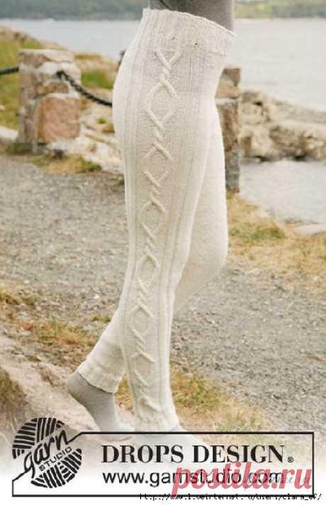 Вязаные спицами лосины рейтузы гамаши, дополнительные аксессуары к прекрасному образу тапочки носки гетры - схема вязания, фото, описание